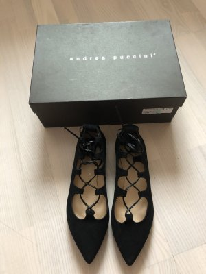 Andrea Puccini Ballerinas with Toecap black leather