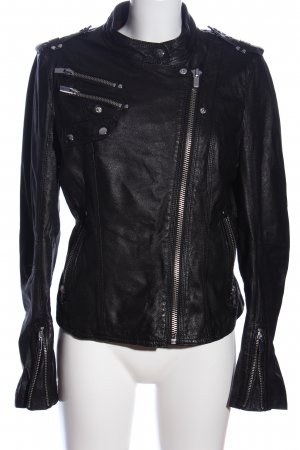 Andrew Marc New York Chaqueta de cuero negro look casual
