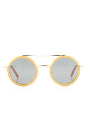 Andy Wolf Eyewear Lunettes de soleil rondes jaune primevère-gris clair