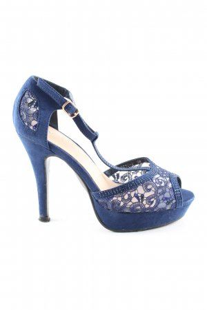 Anesia Peep Toe Pumps blue mixed pattern casual look