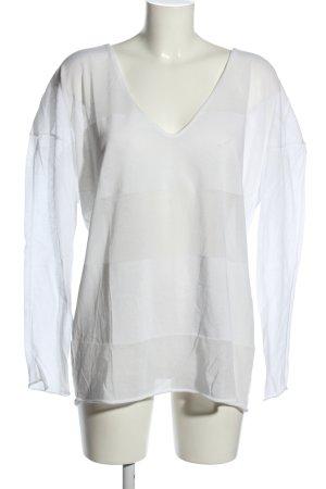 Anette Görtz Maglione con scollo a V bianco motivo a righe stile casual