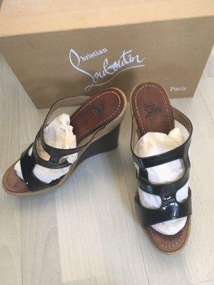 Christian Louboutin Wedge Sandals black-beige leather