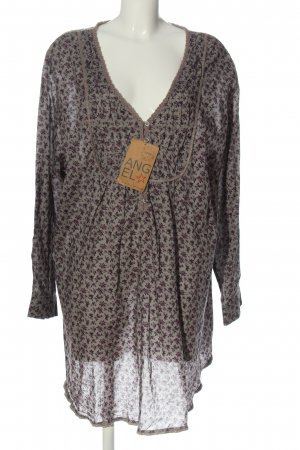 Angel of Style Blouse-chemisier gris clair-violet motif de fleur