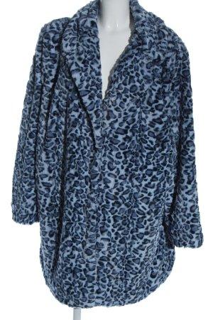 Angel of Style Jas van imitatiebont blauw-zwart luipaardprint casual uitstraling
