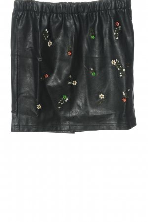 Angel of Style Gonna in ecopelle nero motivo floreale stile casual