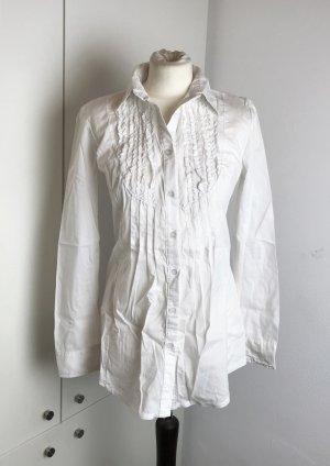 "* ANGEL´S "" weiße Langarm Bluse lang Biesen  "" Made in Italy "" Gr L"