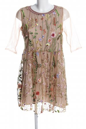Angela Davis Robe Babydoll brun-vert motif de fleur élégant