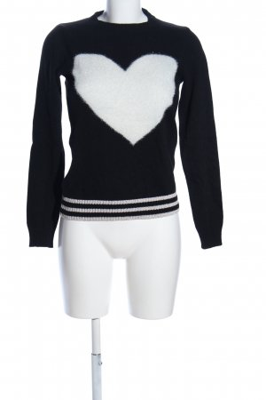 Angela Davis Knitted Sweater black-white themed print casual look