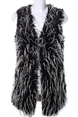 Angela Chaleco de piel negro-blanco look casual