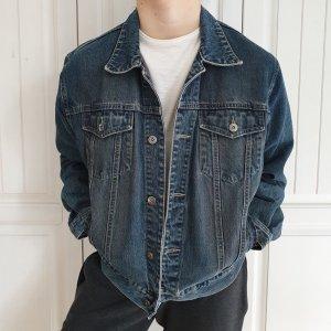 Angelo Litrico Jeansjacke Jeans jacke True vintage M oversize dunkelblau Blau Mantel