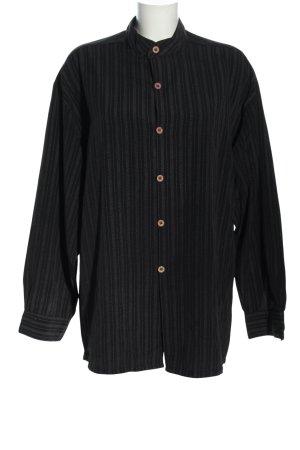 angelo litrico Shirt met lange mouwen zwart-wit gestreept patroon