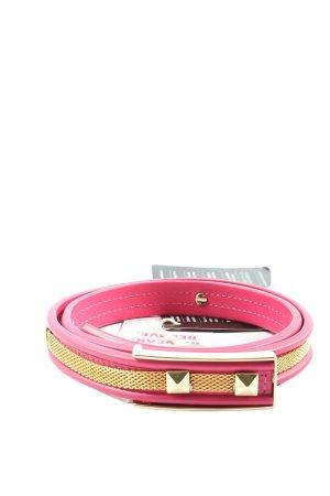 Angelo Marani Cintura di pelle rosa-oro effetto bagnato