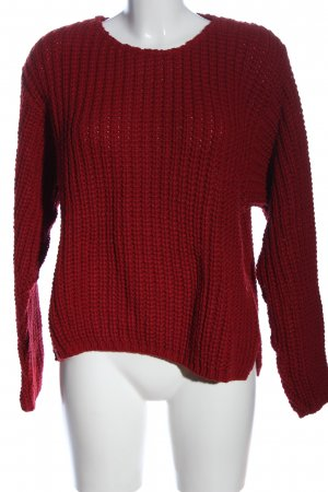 Angels Crewneck Sweater red cable stitch casual look