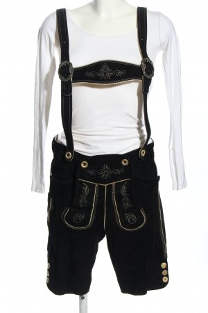 Angermaier Traditional Leather Trousers black-white themed print elegant