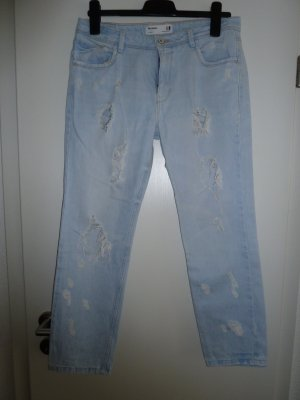 Zara Trafaluc Workowate jeansy błękitny Bawełna