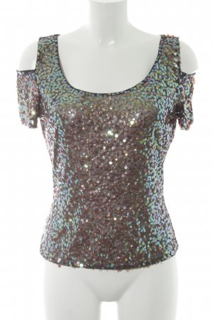 Angie Cut-Out-Top anthrazit Glitzer-Optik