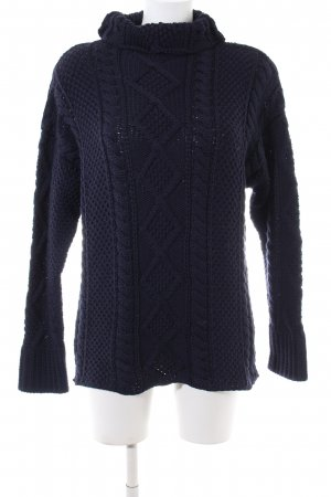 Angiemiller Wollpullover blau Zopfmuster Casual-Look