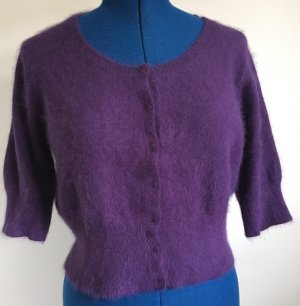 Short Sleeve Knitted Jacket dark violet