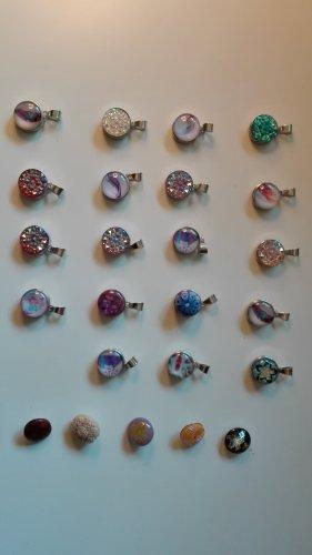 Pendant silver-colored-magenta