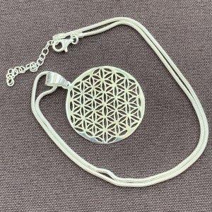 Anhänger & Kette 925 Silber Blume des Lebens Neu