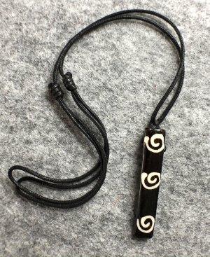 Anhänger Kette Yak Bone 3 Spiralen schwarzbraun 5,2x1cm Baumwollbändchen schwarz