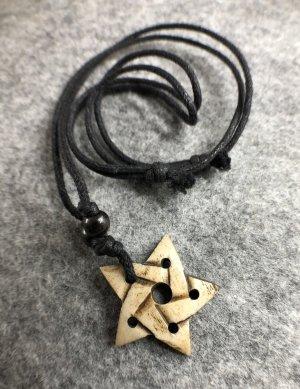 Anhänger Kette Yak Bone Kelten Pentagramm 3,5cm Antik Look Baumwollbändchen schwarz verstellbar