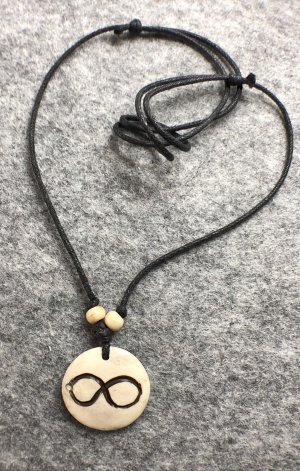 Anhänger Kette Yak Bone naturfarben Unendlichkeit 3cm Baumwollbändchen schwarz
