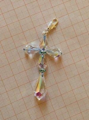 Anhänger Kreuz Preciosa Kristalle Karabinerhaken 925er Silber