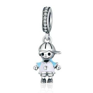 Anhänger Little Boy für Armband oder Halskette / silber & hellblau / NEU & OVP