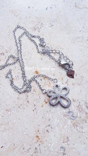 Anhänger mit Kette Blume Zirkonia / 925 Sterling Silber gestempelt