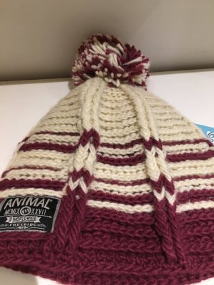 Animal Bobble Hat natural white-purple polyacrylic