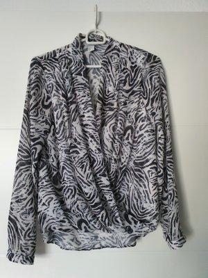 H&M Kopertowa bluzka biały-czarny