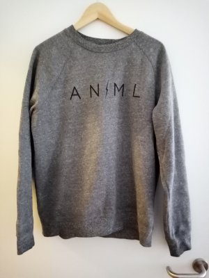 Animal Crewneck Sweater grey cotton