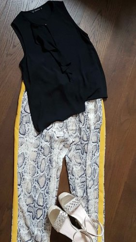 Zara Basic pantalón de cintura baja multicolor Poliéster
