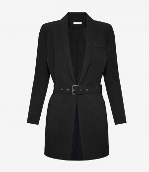 Anine Bing Blazer largo negro-color plata