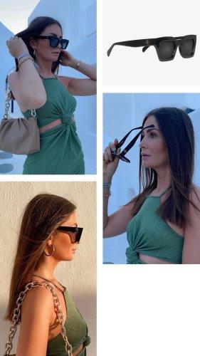 Anine Bing Angular Shaped Sunglasses black-gold-colored