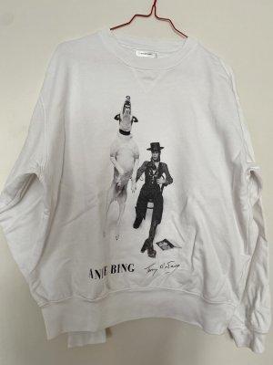 Anine Bing Felpa bianco-nero Cotone