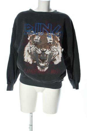 Anine Bing Sweatshirt hellgrau Motivdruck Casual-Look