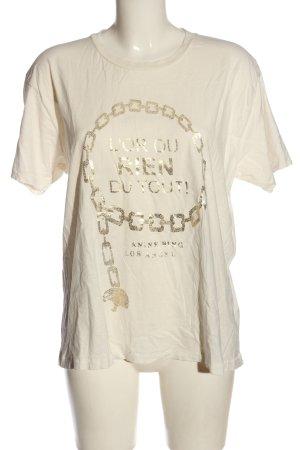 Anine Bing T-shirt crème-doré imprimé avec thème style décontracté