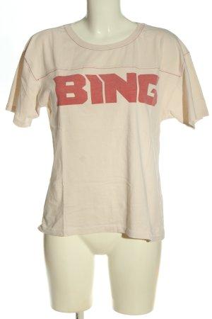 Anine Bing T-shirt crema-rosso caratteri stampati stile casual