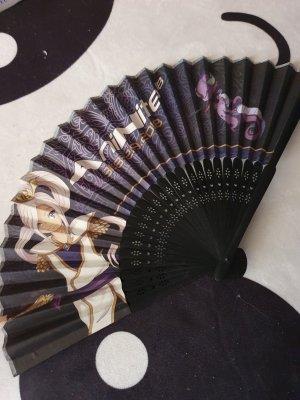 AniNite Abanico negro-violeta oscuro madera