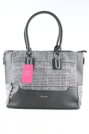 Aniston Handbag black-white check pattern business style