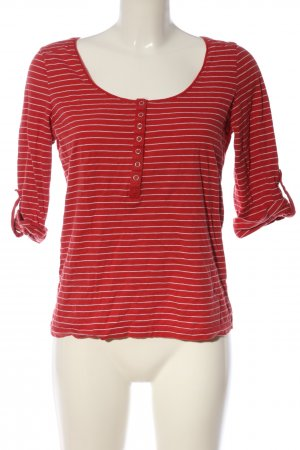 Aniston Bluzka z długim rękawem czerwony-biały Wzór w paski W stylu casual