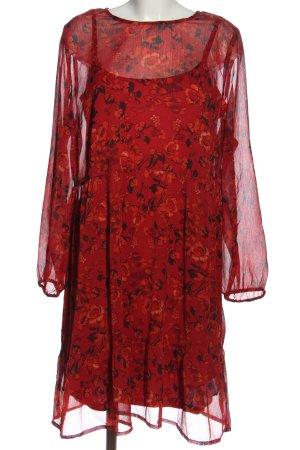 Aniston Abito a maniche lunghe rosso-nero motivo floreale stile casual