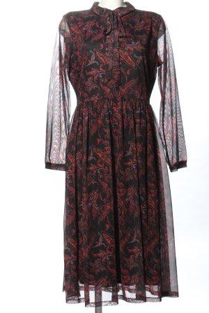 Aniston Robe mi-longue noir-rouge Mélange de motifs style décontracté