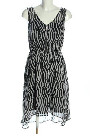 Aniston Robe mi-longue noir-blanc motif abstrait élégant
