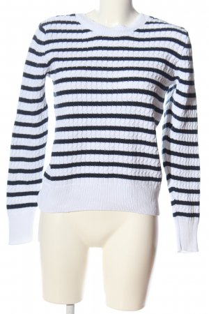 Aniston Pull ras du cou blanc-noir motif rayé style décontracté