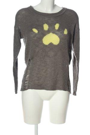 Aniston Kraagloze sweater lichtgrijs-sleutelbloem prints met een thema
