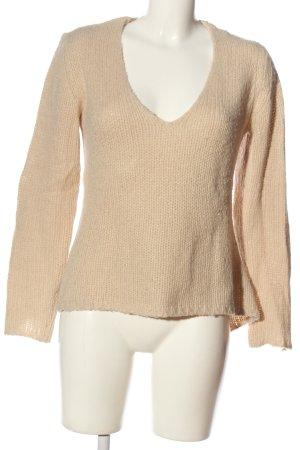 Aniston V-Ausschnitt-Pullover wollweiß Zopfmuster Casual-Look
