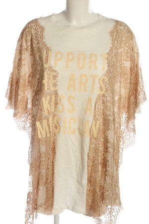 Aniye By Kanten blouse wolwit-bruin gedrukte letters casual uitstraling